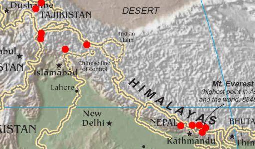 Himalaya Berge Karte.Dr Gerhard Schmatz